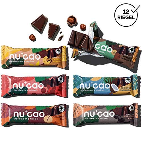 nucao Veganer Bio Superfood Riegel – Mixed Box – Nährstoffreiche Vegane Schokolade aus Hanfsamen & Single Origin Kakao, 480 g