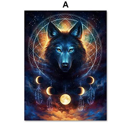 oioiu Resumen león Lobo Ciervo Lobo Lobo Animal Print Arte de la Pared Lienzo Pintura Cartel nórdico e...