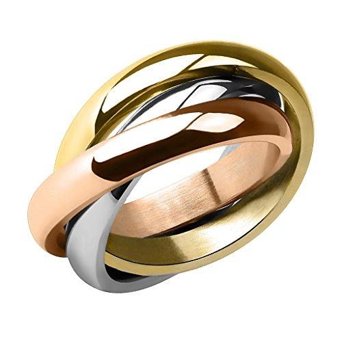 Piersando Damen Ring Edelstahl Dreifach Dreier Partnerring Ehering Bandring Trauring Damenring Silber Rosegold Gold Größe 49 (15.6)