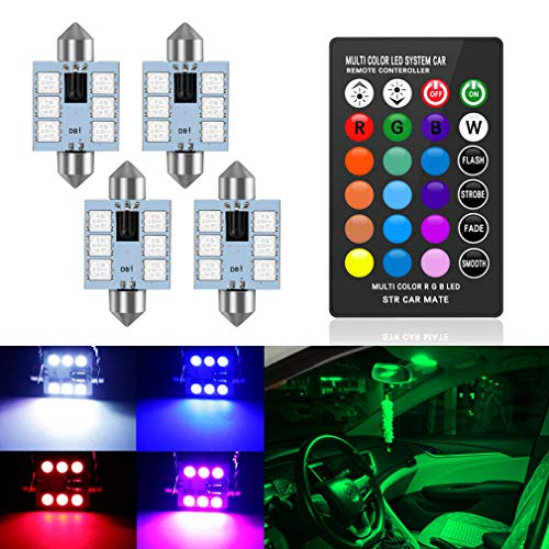 578 LED Bulbs 42mm 1.65 Inches LED Festoon 211-2 212-2 560 Bulb, 16 Colors Change RGB with Remote Control, Replacement for Dome Map Door Courtesy Trunk License Plate Lights Lamps