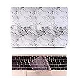 L2W Coque MacBook 12 Occasion Case Laptop Plastique Coque Rigide Housse pour Apple MacBook Retina 12 pouces (Modèle:A1534) Incluant Transparent couvercle du clavier,Marbre Blanc