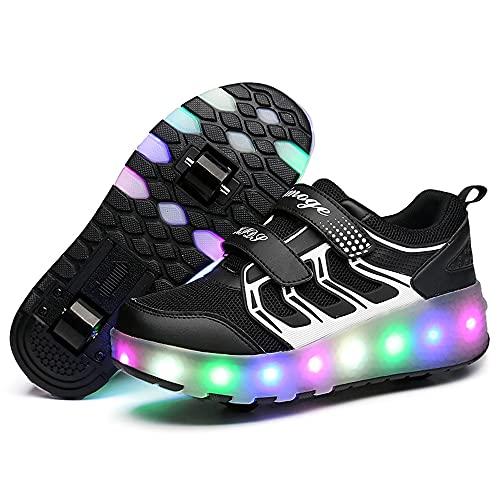 YSTHEZ Zapatos de Rodillos Boys Double Ruedas LED Zapatos Luz Luz Roller Patines Skate Shoes Niños Boys Girls Fiesta Cumpleaños,Negro,8 UK
