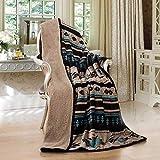 Southwest Aztec Sherpa Borrego Fleece Throw Blanket 50'x 60' - 10 Colors
