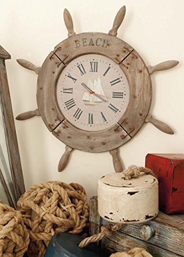 Deco 79 Wood Ship Wheel Clock Nautical Maritime Decor, 20-Inch Nevada