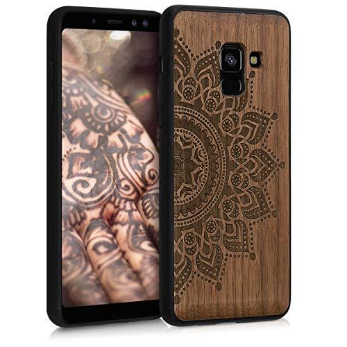 kwmobile Holz Schutzhülle für Samsung Galaxy A8 (2018) - Hardcase Hülle mit TPU Bumper Walnussholz in Aufgehende Sonne Design Dunkelbraun - Handy Case Cover