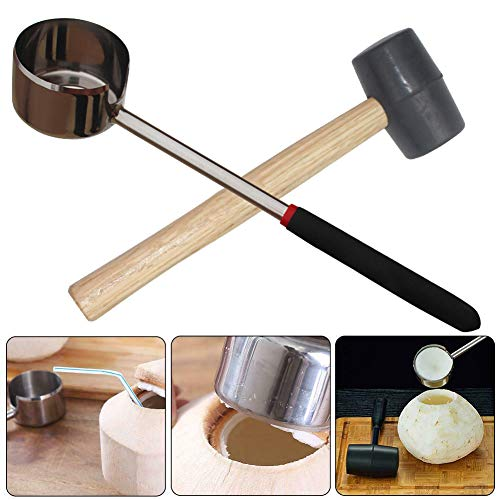 SDGDFXCHN Kokosnuss-Öffner-Werkzeugsatz Edelstahl-Öffner in Lebensmittelqualität 304 mit Holzgriff-Gummihammer Einfach zu verwenden Langlebig