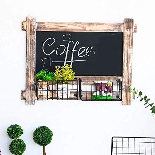 Mr.T Message Board krijtborden Multifunctioneel Retro Do The Old massief hout ijzeren opslag-mand restaurant buitenshuis/binnen, 2 maten (kleur: A, maat: 30X38CM) aanslagbord aan de muur bevestigd