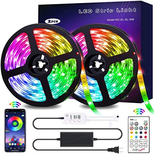 DOOK Tiras LED Bluetooth 10m, Luces LED RGB Colores con Control Remoto de 23 Botones y Fuente de Alimentación de 12V, para Habitación, Dormitorio, Cocina, Techo, Festival Decorativos.