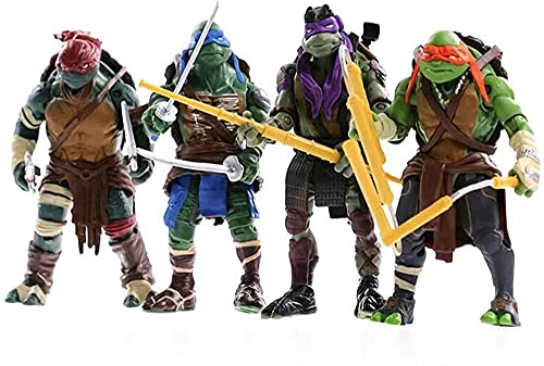 LINRUS Teenage Mutant Ninja Turtles Set 4 PVC Action Characters Mutant Ninja Turtles Mobile Doll Anime Character Model Toys Suitable for Kids Birthday Collection 4.8 Inches