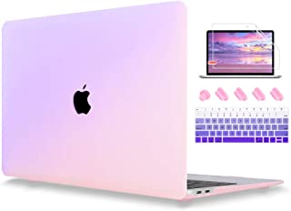 Maychen MacBook Air 13 inch Case 2019 2018 Release A1932 with Retina Display, Plastic Hard Shell case Screen Protector + Keyboard Cover Compatible with Newest Air 13 with Touch ID, Gradient Purple