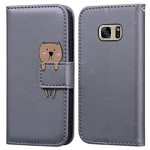 Funda Samsung Galaxy S7 Edge, Ailisi Bear Cartoon Diseño de Animales Grey Billetera Carcasa Protectora de Cuero PU con Cierre magnético, Función de Soporte, Ranuras para Tarjetas -Oso, Gris