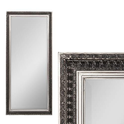 LEBENSwohnART Spiegel BESTY Antik Silber ca. 100x50cm Barock Vintage Wandspiegel Facette
