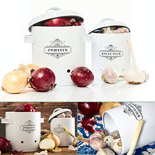 Omi's Beste© Vorratsbehälter Set I 2er Set Knoblauchtopf und Zwiebeltopf I Die stillvollen Vorratsdosen für die Küche - Frischhaltedose Aufbewahrungsbox Behälter Box Gemüse Vintage