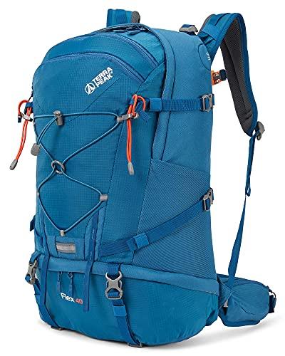 Terra Peak Flex 40 Trekkingrucksack blau 40 Liter Volumen Skirucksack moderner survival Rucksack zum trekking mit Regenhülle und gepolstertem Tragesystem optimal für lange Touren