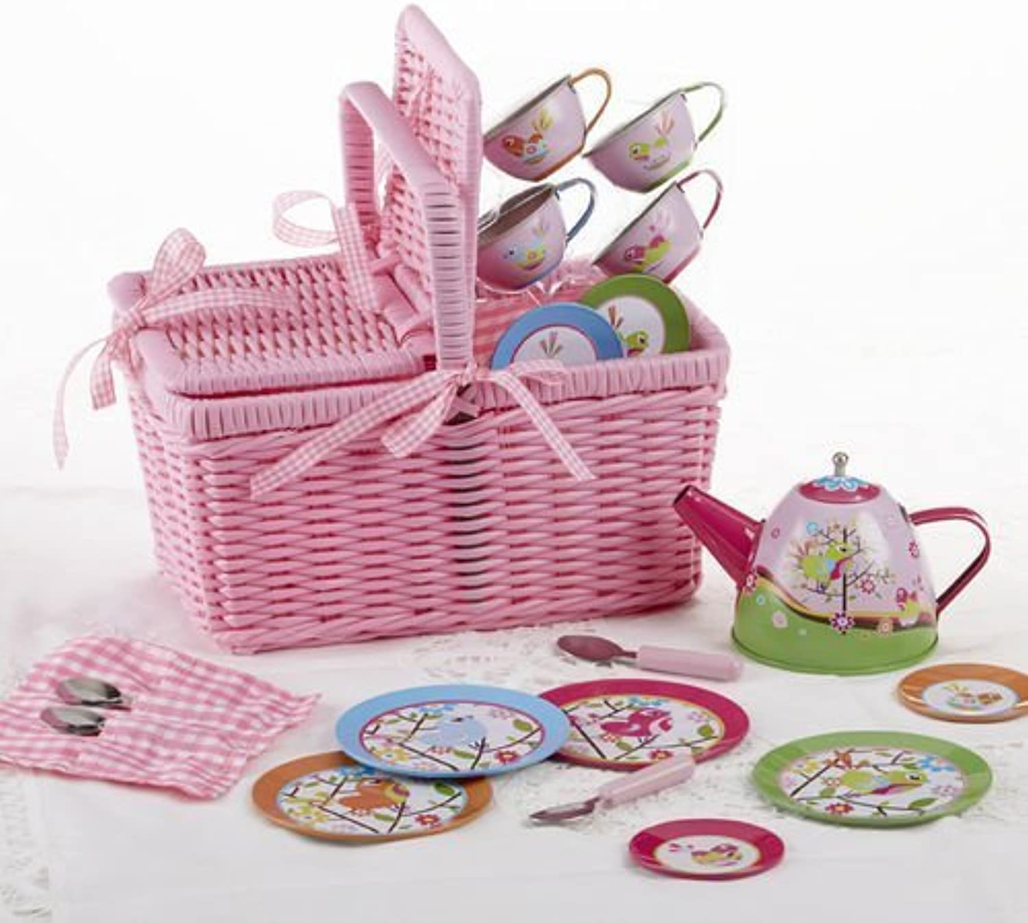 Delton Products Bird Tin Tea Set with Basket (18 Piece), 4  by Getting Fit