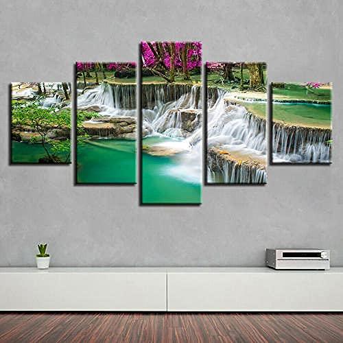 COCOCI Lienzo 5 Piezas Green Lake Waterfall Forest Wall Art Lienzos Decorativos Cuadros Grandes Baratos Cuadros Decoracion Cuadros para Dormitorios Modernos Cuadros Decoracion Regalos Personalizados