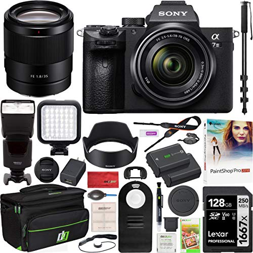 Sony a7III Full Frame Mirrorless Camera ILCE-7M3K/B Two Lens Kit with FE 28-70mm F3.5-5.6 OSS SEL2870 + FE 35mm F1.8 SNSEL35F18F Bundle with 128GB, Deco Gear Case, Flash, 72' Monopod and Accessories
