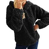 Hffan Damen Warm Herbst und Winter Hoodie Freizeit Casual Schöne Elegant Langarm Tops Kaschmir Shirt Pullover Kapuzepullover Sweatshirt Oberteile Modisch(Schwarz,X-Large)