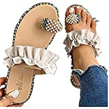 Sandals for Women Platform, Cute Pearls Comfy Flatform Sandal Shoes Summer Beach Travel Roman Shoes Beige
