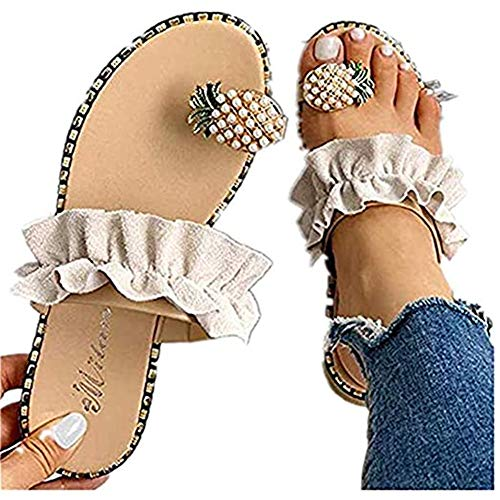 Sandals for Women Platform, Cute Pearls Comfy Flatform Sandal Shoes Summer Beach Travel Roman Shoes Beige