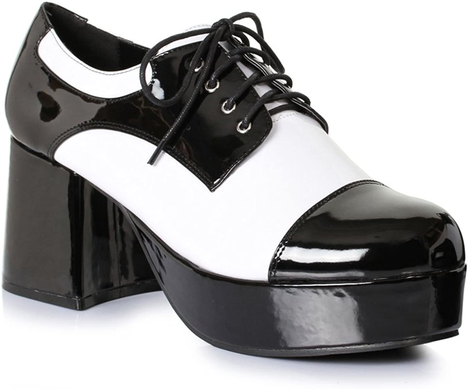 Mens Freddy 1970s Platform 3  Heel Black & White shoes