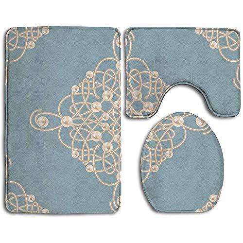 N/A matten Vintage bedrukte regenboog glitter 3 stks badkamer tapijt anti-slip bad mat U+kussen toiletbril + cover tapijt