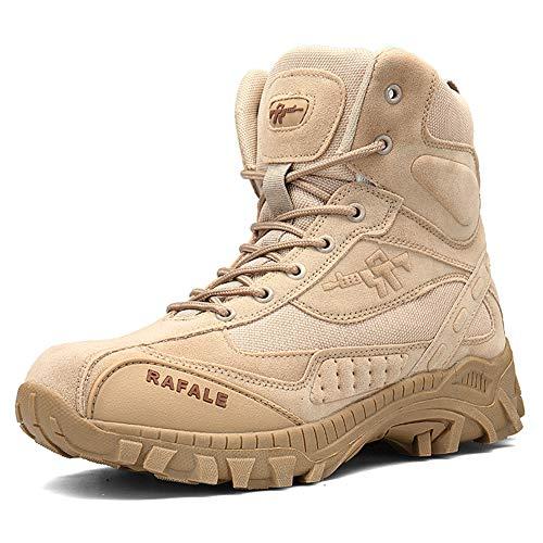 ailishabroy Herren Militärstiefel wasserdicht Mikrofaser beige Outdoor-Schuhe