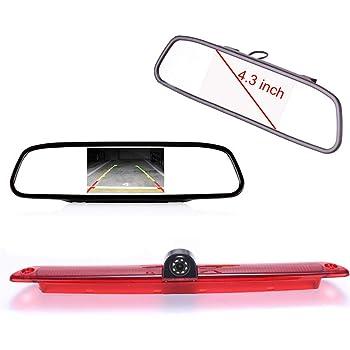 Specchietto Retrovisore Auto HD da 4,3 Pollici 1280 720 Pixel 1000TV linee Super HD Auto Telecamera Retromarcia per Opel Vauxhall Movano ab 2010//Renault Master ab 2010//Nissan NV400 ab 2010