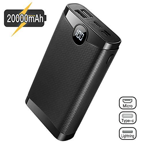 POSUGEAR Powerbank 20000mAh, Bateria Externa para Movil con 3 Entradas de USB C/Micro/Lightning, 2 Salidas y Pantalla LED Compatibles con Todos Los Teléfonos y Tabletas…