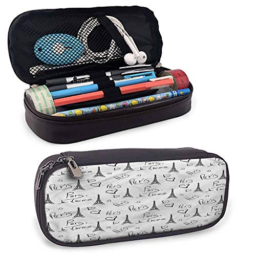 Paris Pencil Bag Pen Case, Eiffel Je Taime Doodle for Pen, Pencil, Samsung, Huawei, Pen Accessories, USB Cable, Earphone, Fountain Pen 8'x3.5'x1.5'