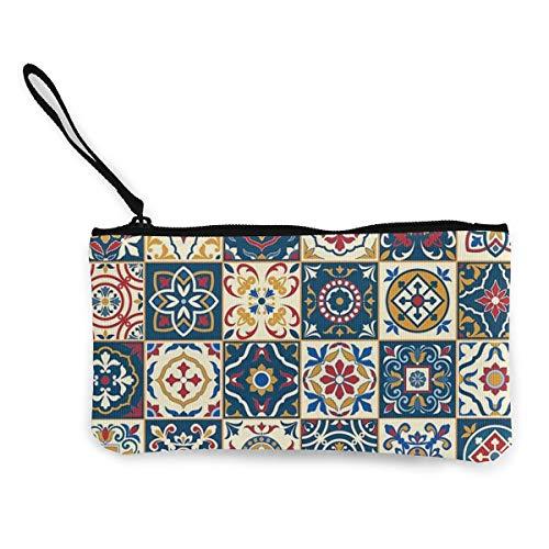 Rterss Marokkaanse tegels patroon muntportemonnee portemonnee tas geld zak veranderen zak sleutelhouder mobiele telefoon tas met handvat bedrukt canvas op maat