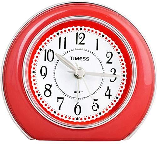 WERTYG Alarma ClockCreative Silencio Dormitorio pequeño Reloj de cabecera Luces nocturnas Hombre Perezoso pequeño Reloj (Color: D) Despertador
