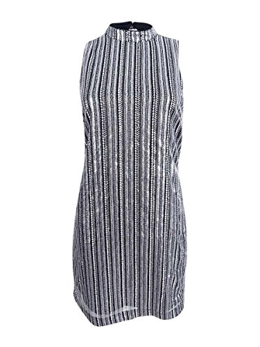 GUESS Vestido de lentejuelas a rayas para mujer - plateado - 40