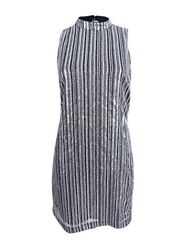 GUESS Vestido de lentejuelas a rayas para mujer - plateado - 34