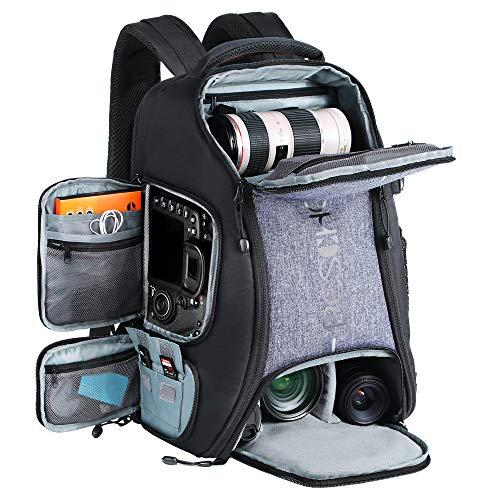 "BESCHOI - Mochila Fotografía para Cámara Réflex Nikon Canon Sony Tripode Tablet 15,6 ""con Funda de Lluvia, Mochila Grande 24L"