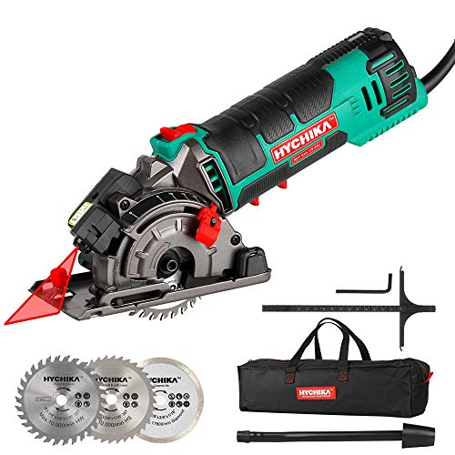 Mini Circular Saw, HYCHIKA Compact Circular Saw Tile Saw with 3 Saw Blades...