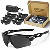 ROCKSAFE Safety Glasses (Smoke) Polycarbonate Impact & Scratch Resistant, Wrap-Around UV-Block Protective Eyewear [8-Pack]