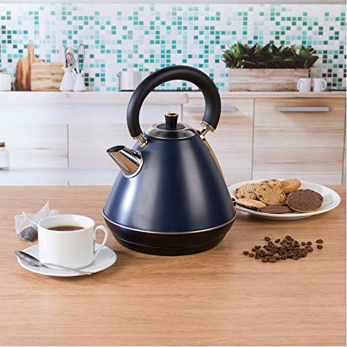 Salter Pyramid Kettle 1.7 Litre, 3 kW, Navy/Gold