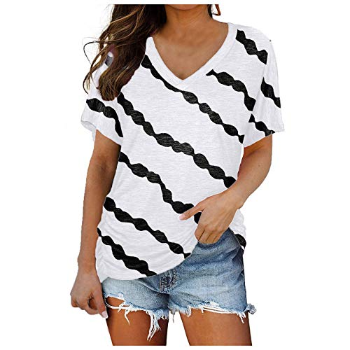 Party Blouses Shirts Women Elegant T-Shirts Oversized Women's Blouse Short Sleeve V Neck Tops Solid Best Workout Casual T-Shirt Tunic Summer Top Loose - Multicolour - XL