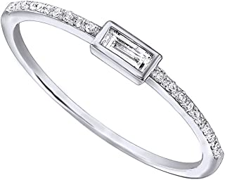 1/10Ct Real Baguette Cut Round Cut Diamond 10K Solid Gold Engagement Wedding Stackable Band Ring
