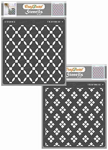 CrafTreat Lattice Layered Stencils for Painting on Wood, Canvas, Paper, Fabric, Floor, Wall and Tile - 2 Step Lattice Flower - 6x6 Inches - Reusable DIY Art and Craft Stencils for Painting Flowers