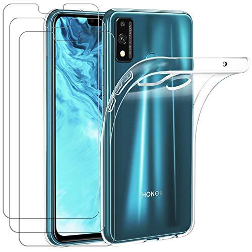 ivoler Hülle für Huawei Honor 9X Lite + [3 Stück] Panzerglas, Durchsichtig Handyhülle Transparent Silikon TPU Schutzhülle Case Cover mit Premium 9H Hartglas Schutzfolie Glas