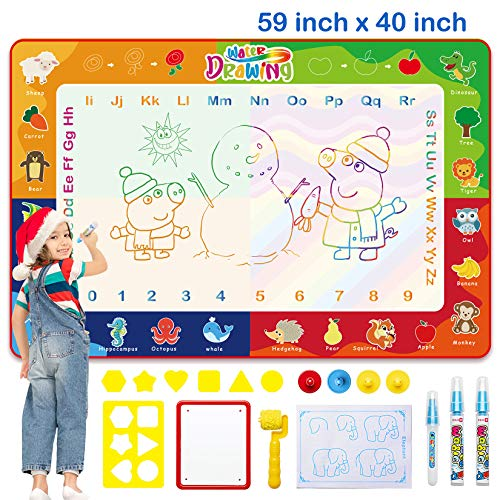 Wasser Doodle Malmatte 150 x 100cm Super Groß Magic Doodle Matte mit 3 Magic Stifte & Stempelset Aqua Drawing Matte für Kinder Baby Mädchen Junge, Painting Geschenk für ab 3 Jahren