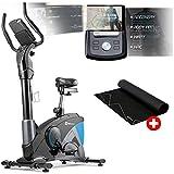 Hop-Sport Ergometer Apollo Heimtrainer Fahrrad Bluetooth 4.0 Smartphone Steuerung Schwungmasse 13 kg inkl.Unterlegmatte (Blau)