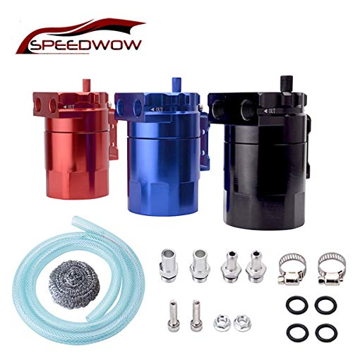 SPEEDWOW Oil Catch Can Tank Filter Baffled Universal Red