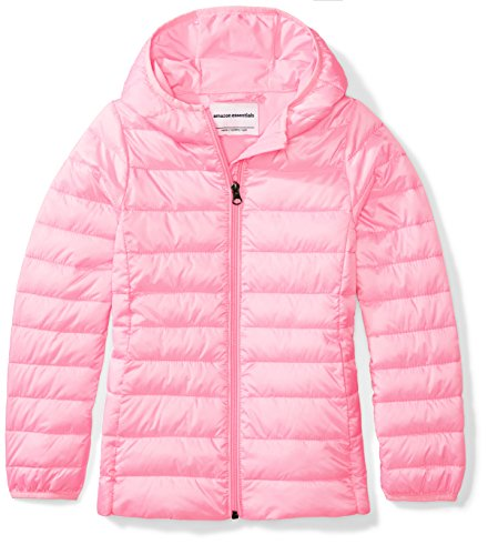 Amazon Essentials Girl's Lightweight Water-Resistant Packable Hooded Puffer Jacket, Neon Flamingo Pink, Medium
