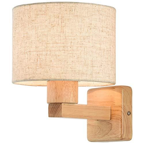 Skingk Nordic Moderno Minimalista lámpara de Pared de Madera LED Dormitorio Tela lámpara de Noche Luces de Pared Estudio Sala de Estar Creativo japonés lámpara de Pared Aplique E27