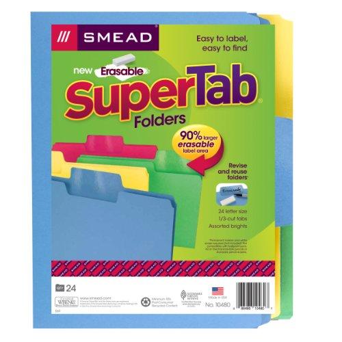 Smead Erasable SuperTab File Folder, Erasable Oversized 1/3-Cut Tab, Letter Size, Assorted Colors, 24 per Pack, (10480) Photo #5