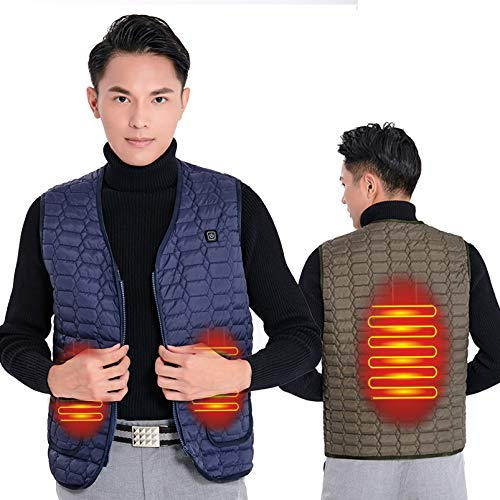 Yeah-hhi Chaleco de invierno con calefacción de 3 zonas de 3 niveles de temperatura inteligente calentador eléctrico ropa para invierno hombre mujer, hombre ~ azul, M