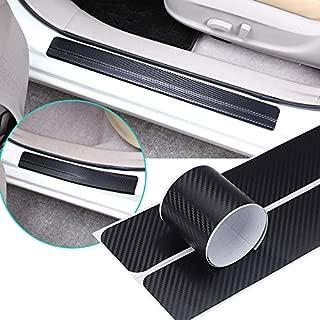 QianBao 4PCs Car Door Sill Protector Carbon Fiber Sticker, Welcome Pedal Car Entry Guards Trims Anti-Kick Scratch Resistant